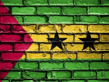 National Flag of Sao Tome and Principe on a Brick Wall Stock Photo