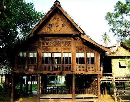 traditional house: beautiful traditional house at perak, malysian Stock Photo