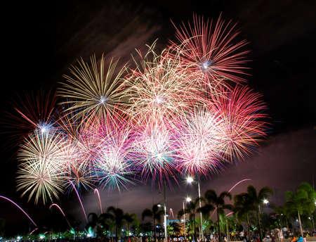 beautiful fireworks image at kuala lumpur, malaysian