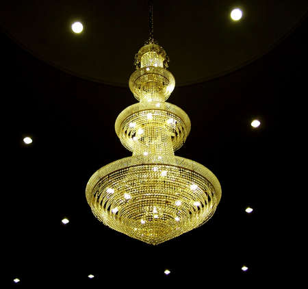 bright, bulb, ceiling, chandelier, dark, design, glass, hanging, indoor, interior, lamp, lamps, light, lighting, lights, pattern, yellow, abstract, architecture, background, black, candle, color, darkness, electric, electricity, evening, fixture, glow, ho Stock Photo