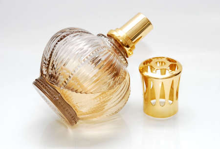 beautiful  one glass perfume image on the white background
