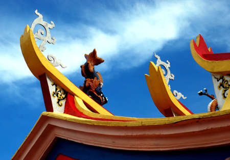 godliness: eautiful  focus a chinese temple image on the blue sky background Stock Photo