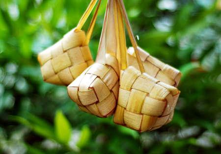 malay food: Ketupat served during Idul Fitri and Hari Raya Aidilfitri celebrations