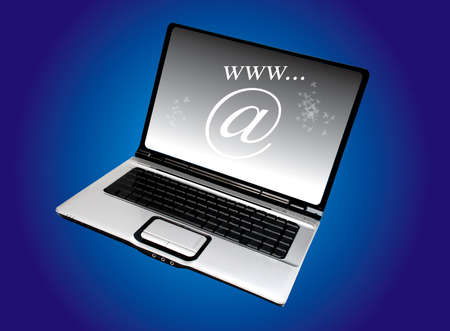 laptop computer on the blue background Stock Photo