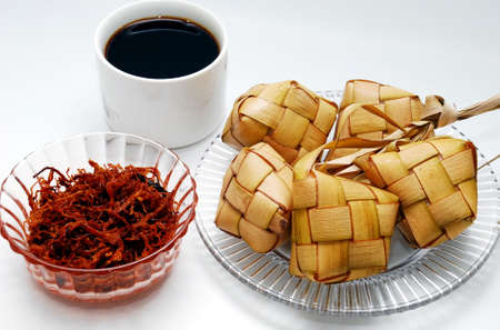 Ketupat served during Hari Raya Aidilfitri celebrations Stock Photo