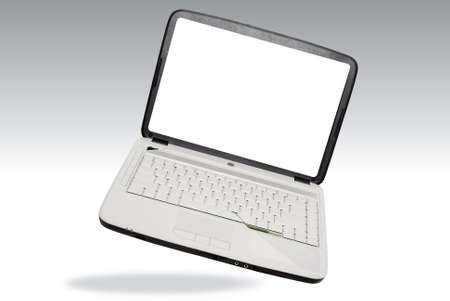 laptop computer over white photo