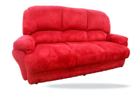 red sofa over white