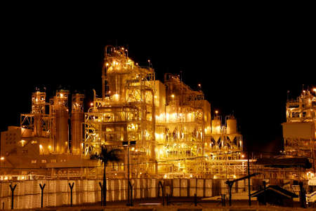 naphtha: oil industry at night Stock Photo