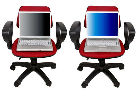 laptop computer on the chair Stock Photo - 2929522
