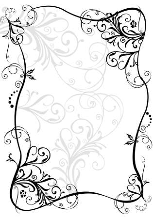 flora vector: floral border Stock Photo