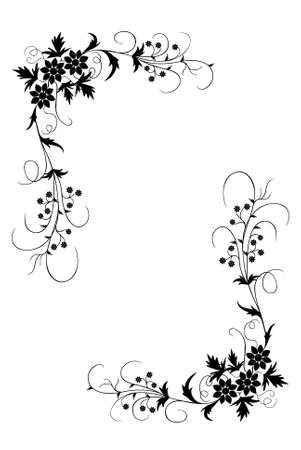 black soil: An Illustration of a Floral Border Silhouetted on White Background Stock Photo