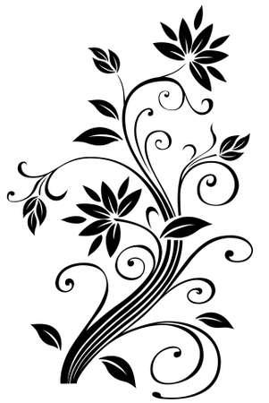 floral ornaments: An Illustration of a Floral Border Silhouetted on White Background Stock Photo