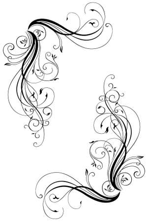 black swirl: An Illustration of a Floral Border Silhouetted on White Background Stock Photo