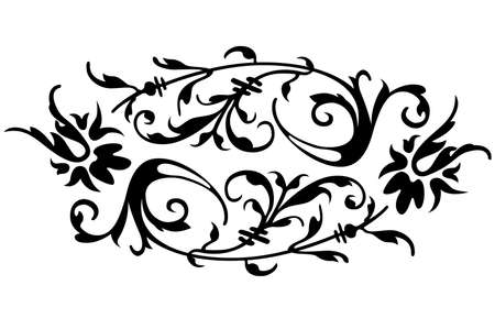 scroll border: a floral border design  over the white background Stock Photo