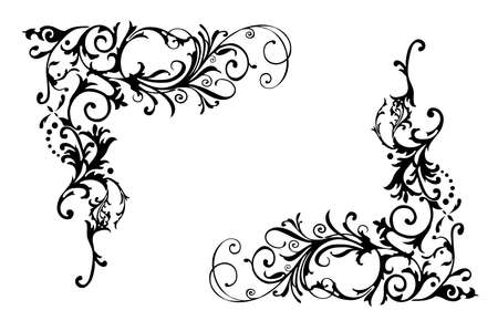 vine border: a floral border design on the white background
