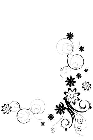 a floral border on the white background photo