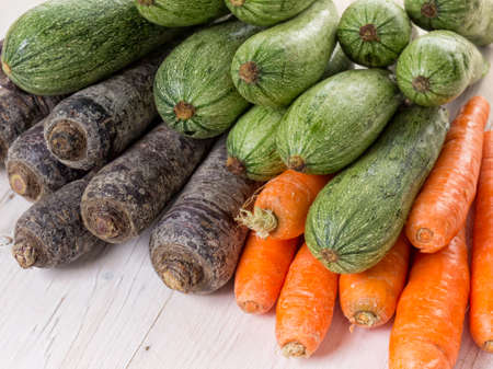 courgettes: Carrots and courgettes Stock Photo