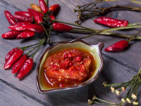 Hot spicy chili pepper sauce Archivio Fotografico