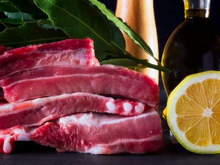 Yummy raw pork bones with lemon