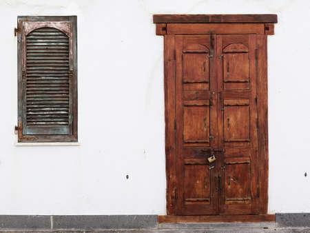 Beauty old woodden door in Alghero town