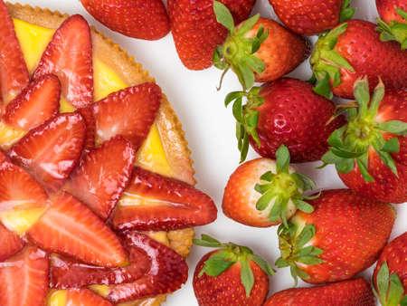 Sweet Strawberry Shortcake and lemon cream Archivio Fotografico