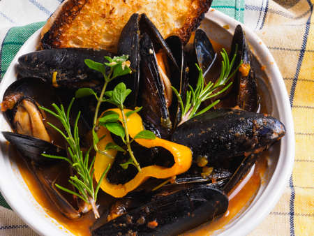 Mussels and peppers soup Archivio Fotografico