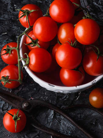 A Still life on black background of little tomatoes - Sicily - Pachino Archivio Fotografico - 131710371