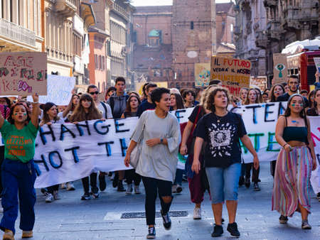 BOLOGNA, Italy - March 15, 2019: Thousands of students and young people protest in Bologna