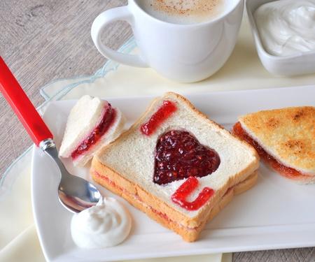 jam sandwich:  I love you  breakfast