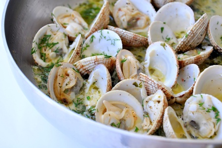 cockle: Cooking clams in white sauce Stock Photo