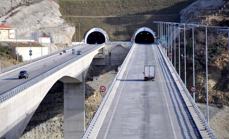 tunnel view: Highway viaduct Stock Photo