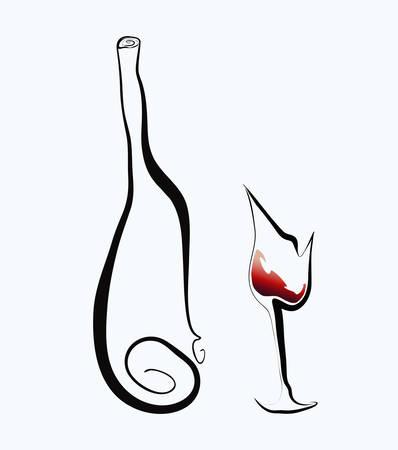 Stylized goblet and bottle. Vector illustration.