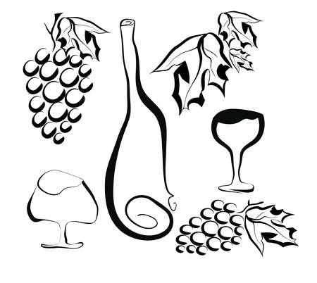 Stylized still life with grapes, wine bottle and glasses
