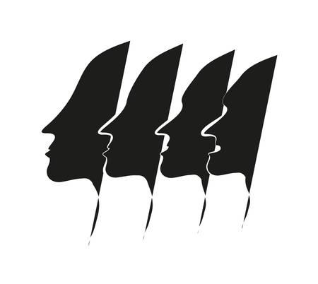 four men face silhouette.