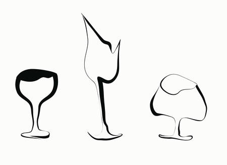 three stylized vector goblets of white background.