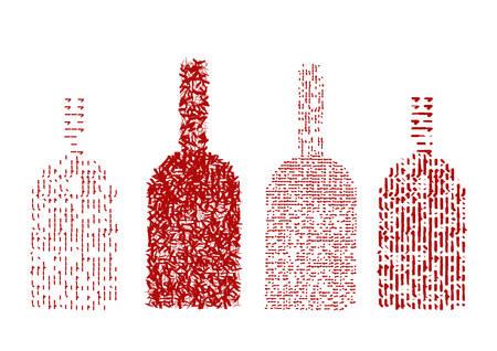 Four red wine bottles.