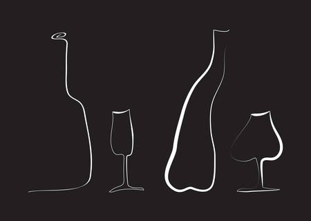 Outline wine bottles and glass.
