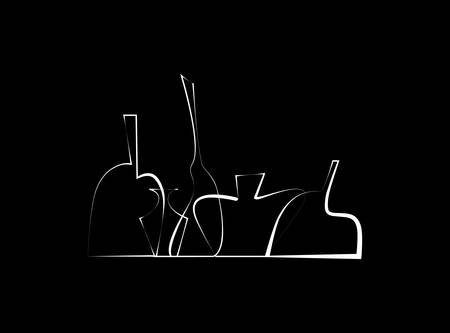 Outline stylized wine bottles. Illustration
