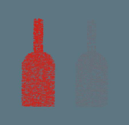 Red stylized wine bottles.