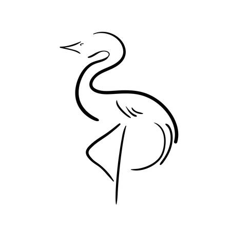 Black stylized stork on a white background.