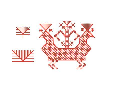 Finnish ornament design elements Çizim