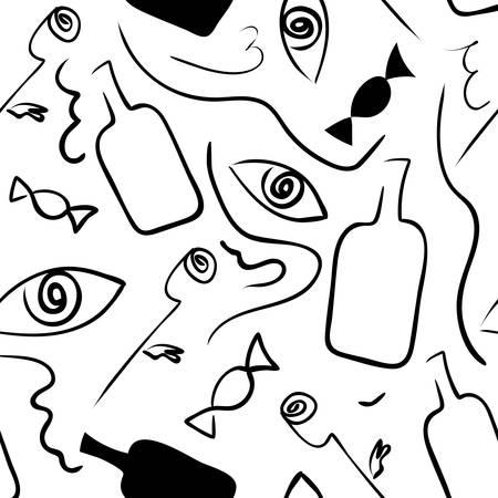 Linear seamless black and white pattern. Çizim