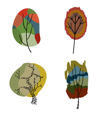 Four stylized colored trees.