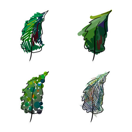 Four stylized hand-painted spruce