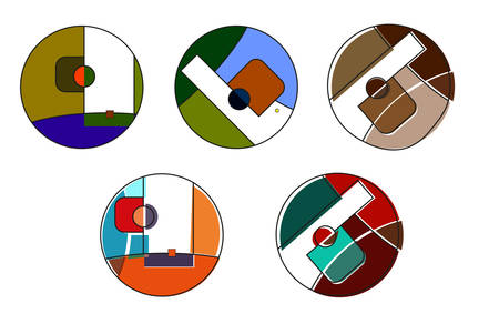 Set of round vector logo. Çizim