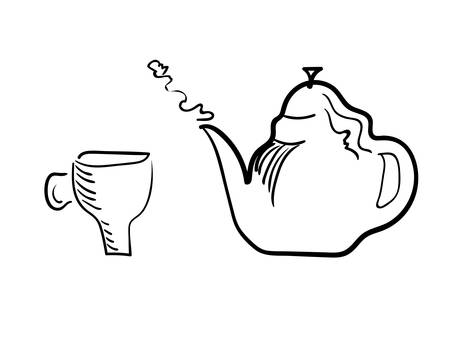 Teacup and brewing teapot on a white background