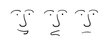 Set of three facial expressions on a white background