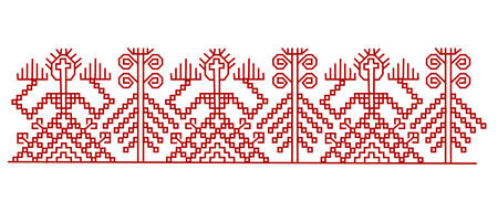 Red finnish ornament design elements. Vector eps 10