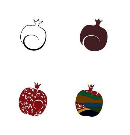 set of four stylized pomegranates isolated. Vector
