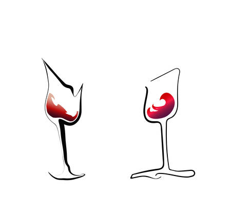 Two stylized red wine glasses on a white background